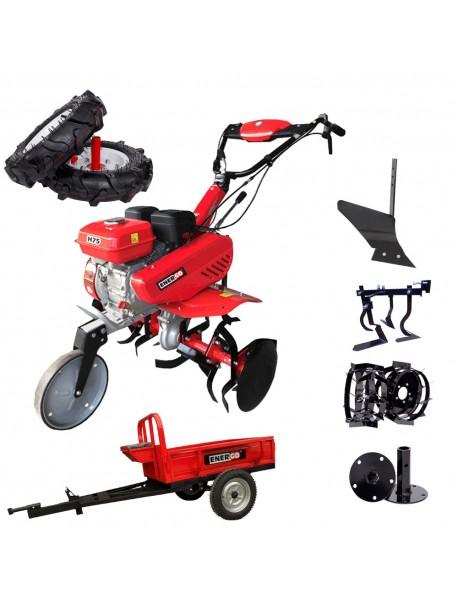 Motosapa ENERGO H75, roti cauciuc, 4 accesorii, remorca ENERGO, putere nominală 7 CP, capacitate rezervor 3.6 L, greutate: 77 kg